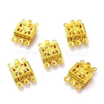 Brass Multi-strand Box Clasps, Triple Necklace Layering Clasps, 3-Strands, 6 Holes, Rectangle, Golden, 15x10x3mm, Hole: 1mm(KK-O129-01G)