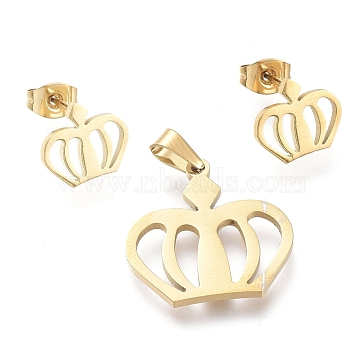 Crown 304 Stainless Steel Jewelry Sets, Pendants and Stud Earrings, with Ear Nuts, Golden, 20x20x1.3mm, Hole: 5x3.3mm; 10x11mm, Pin: 0.7mm(SJEW-K154-04G)