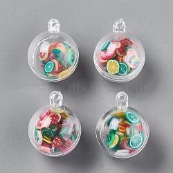 Открывающиеся пластиковые подвески, с пластиковыми фруктовыми кабошонами внутри, круглые, разноцветные, 25.5x20 мм, отверстие : 2.5 мм(X-KY-L002-01)