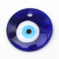 Main lampwork mauvais oeil gros pendentifs, darkblue, 60~61x10mm, Trou: 5mm(X-LAMP-R134-60mm-01)