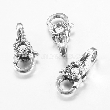 Tibetan Style Alloy Lobster Claw Clasps, Flower, Cadmium Free & Nickel Free & Lead Free, Antique Silver, 25x11x7mm, Hole: 5mm(X-TIBE-T002-12AS-NR)