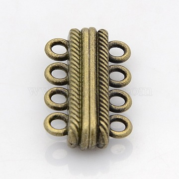 Oval 4 Strands Alloy Magnetic Clasps, 8-Hole, Nickel Free, Antique Bronze, 30x17x7mm, Hole: 3mm(X-PALLOY-N0095-02AB-NF)