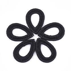 pendentifs tissés en corde de polyester ciré, avec les conclusions de fer, déposer, noir, 44~45x30~31x3 mm(FIND-T039-15A)
