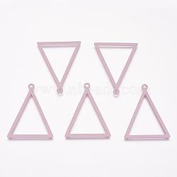 Pendentifs en laiton peints, triangle, flamant, 35x27x1mm, Trou: 2mm(KK-P075-33B)