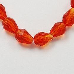 OrangeRed граненые стекла падение шарики нити, 6x4 mm, отверстия: 1 mm(X-GLAA-R024-6x4mm-18)