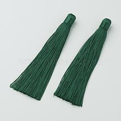 Décorations de gros pendentif pompon en nylon, darkgreen, 120x10mm, Trou: 5mm(X-HJEW-G010-B09)