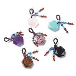 Chakra Hanging Ornament, Natural & Synthetic Mixed Stone Pendant Decorations, with Nylon Cord, for Jewish, Star of David/Hexagon, 47mm, hole: 8mm(HJEW-K032-05G)