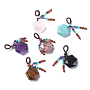 Chakra Hanging Ornament, Natural & Synthetic Mixed Stone Pendant Decorations, with Nylon Cord, for Jewish, Star of David/Hexagon, 47mm, hole: 8mm