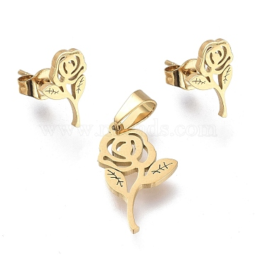 Valentine's Day Rose 304 Stainless Steel Jewelry Sets, Pendants and Stud Earrings, with Ear Nuts, Golden, 18.5x11x1mm, Hole: 5.5x3.3mm; 12x7.5mm, Pin: 0.7mm(SJEW-K154-01G)