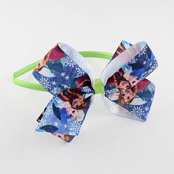 Girls' Kawaii Bowknot Hair Bands, Plastic Hair Bands with Printed Grosgrain Ribbon, Lawn Green, 105mm(OHAR-R213-06)