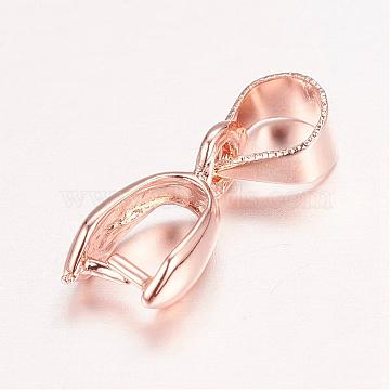 Real Rose Gold Plated Brass Pendant Pinch Bails, Nickel Free, Rack Plating, 10.5x5.5x3mm, Hole: 4x5mm(KK-E702-05RG-NF)