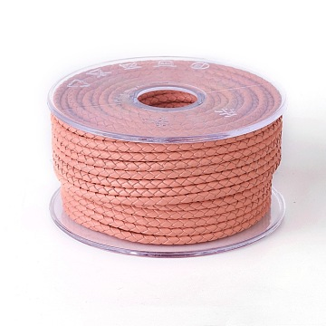 Braided Cowhide Cord, Leather Jewelry Cord, Jewelry DIY Making Material, Coral, 3mm, about 54.68 yards(50m)/roll(WL-I003-3mm-A-17)