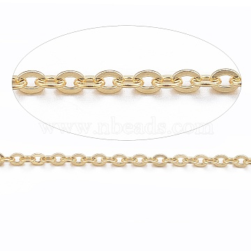 Vacuum Plating 304 Stainless Steel Cable Chains, for DIY Jewelry Making, Soldered, with Spool, Flat Oval, Golden, 1.5x1.3x0.3mm, about 32.8 Feet(10m)/roll(CHS-H007-01G)