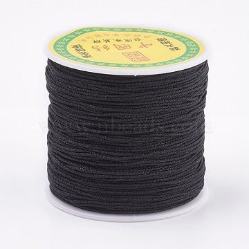 Polyester Cord, Black, 0.8mm, about 87.48 yards(80m)/roll(OCOR-P008-900)