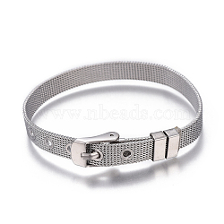 304 Stainless Steel Watch Bands, Watch Belt Fit Slide Charms, Stainless Steel Color, 8-1/2inches(21.7cm); 8mm(WACH-E025-01P)