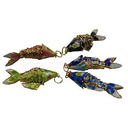 Gros pendentifs cloisonné, poisson, couleur mixte, environ 25 mm de large, Longueur 65mm, épaisseur de 14mm, Trou: 6mm(CLB006)