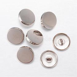 Boutons en alliage, 1-trou, plat rond, platine, 20x7mm, Trou: 2mm(BUTT-D054-20mm-05P)