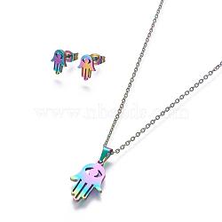304 ensembles de bijoux en acier inoxydable, boucles d'oreille et colliers, hamsa main / main de fatima / main de miriam avec mauvais oeil, multicolore, 17.7 18.1 cm); (45~46 mm; Broche: 10x7.5 mm(X-SJEW-L141-065M)