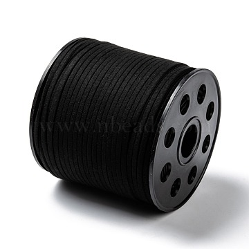 (Old SKU: LW-G001-1)Eco-Friendly Faux Suede Cord, Faux Suede Lace Suede String for DIY Jewelry Making, Black, 3.0x1.4mm, about 98.42 yards(90m)/roll(LW-R007-3.0mm-1090)