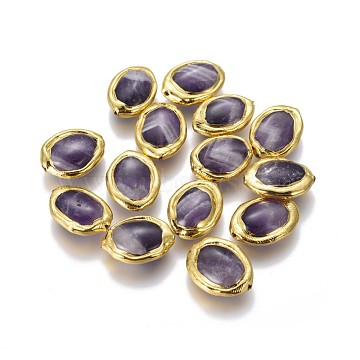 Natural Amethyst Beads, with Golden Plated Brass Findings, Oval, 17~20x12~14x5~6mm, Hole: 0.8mm(G-F633-15G)