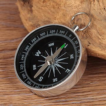 Portable Aluminium Alloy Compass, Outdoor Compass, Platinum, 5.8x4.4x1cm(X-TOOL-F009-05)