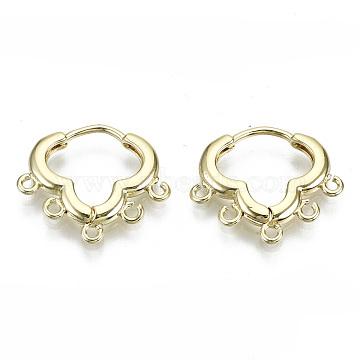 Brass Huggie Hoop Earring, with 5 Loops, Nickel Free, Real 18K Gold Plated, 15x18x2mm, Hole: 1.2mm, Pin: 0.9mm(KK-N227-59-NF)