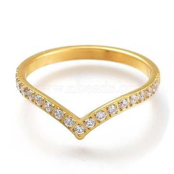 304 Stainless Steel Finger Rings, with Clear Cubic Zirconia, Golden, US Size 7, Inner Diameter: 17mm(RJEW-F110-06G-7)