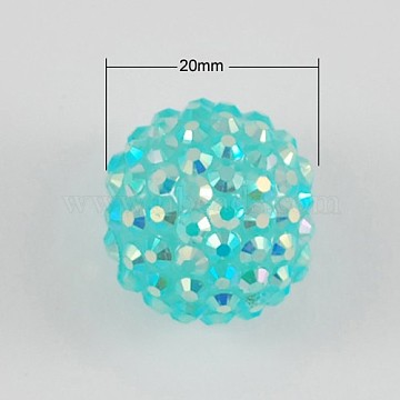 5PCS AB Color Chunky Round Resin Rhinestone Bubblegum Ball Beads, with Jelly Style Inside, Medium Turquoise, 20x18mm, Hole: about 2.5mm(X-RESI-S253-20mm-GAB20)