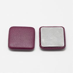 Cabochons recouverts de tissu imitation cuir, avec fond en aluminium, carrée, brun, 32.5x32.5x7mm(WOVE-S084-02C)