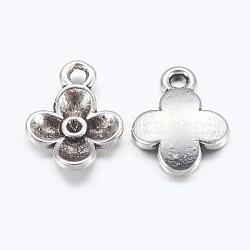 Supports de pendentif en alliage avec strass, sans plomb et sans cadmium, fleur, argent antique, 13x10x2.5mm, Trou: 2mm