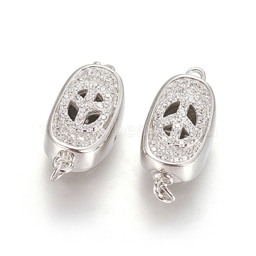 Platinum Clear Oval Sterling Silver Box Clasps