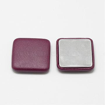 Imitation Leather Cloth Fabric Covered Cabochons, with Aluminum Bottom, Square, Brown, 32.5x32.5x7mm(WOVE-S084-02C)