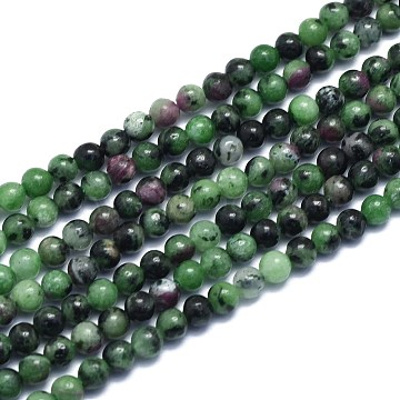Natural Ruby in Zoisite Beads Strands, Round, Alice Blue, 4.5mm, Hole: 0.7mm; about 86pcs/Strand, 15.55 inches(39.5cm)(G-K310-C10-4.5mm)
