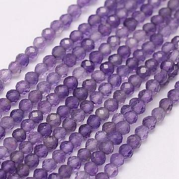 New Beads,Natural Amethyst Faceted Beads Round Shape beads size is 2 MM  Approx 13/'/' Inches {1 strand}
