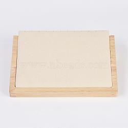 Collier bois affiche, avec faux suède, rectangle, peachpuff, 20.5x14.5x4.5 cm(NDIS-E020-02B)