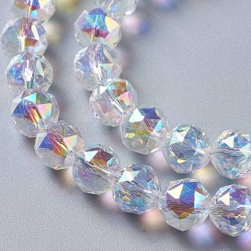Glass Imitation Austrian Crystal Beads, Faceted Round, Clear AB, 10x9mm, Hole: 1mm(GLAA-F108-02)