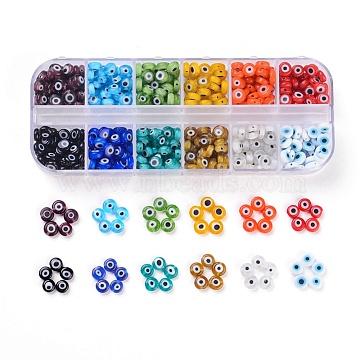 12 Colors Handmade Evil Eye Lampwork Beads, Flat Round, Mixed Color, 6x2.5~3mm, Hole: 1mm; 12colors, about 36~40pcs/color, 432~480pcs/box(LAMP-JP0001-14)