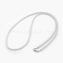 """Colliers à mailles en laiton, avec des perles de verre à l'intérieur, clair, platine, 22"""" (56 cm)(NJEW-F241-01P-A)"""