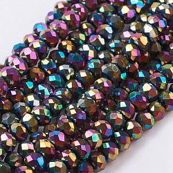 Граненый Rondelle нити гальванических стеклянной бусины, с покрытием разноцветным, 3x2 мм, Отверстие : 1 мм; около 100 шт / нитка, 10