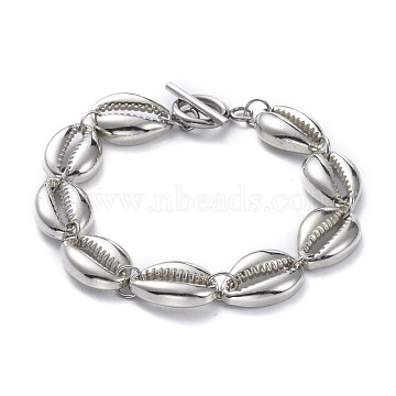 Plating ABS Plastic Beaded Bracelets, with 304 Stainless Steel Toggle Clasps, Cowrie Shell Shape, Platinum & Stainless Steel Color, 7-1/4 inch(18.5cm)(BJEW-JB05614)