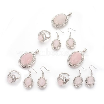 Natural Rose Quartz Jewelry Sets, Pendants and Earrings and Rings, with Brass Findings, Oval, Platinum, 38x27x14mm, Hole: 7.5x4.5mm; 17mm; 42mm, Pin: 0.5mm.(SJEW-P156-01)