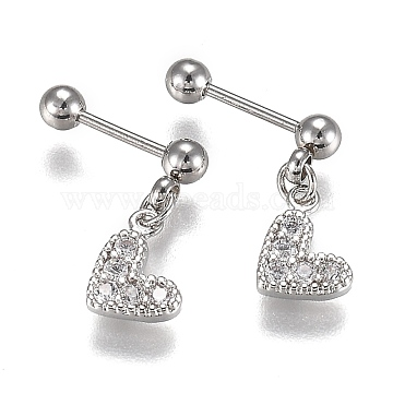 304 Stainless Steel Ear Fake Plugs Gauges, with Clear Cubic Zirconia, Heart, Stainless Steel Color, 14mm, Pin: 0.8mm, 12pcs/set(EJEW-H113-07P)