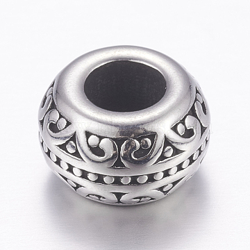 304 Stainless Steel European Beads, Large Hole Beads, Rondelle, Antique Silver, 12x7mm, Hole: 5.5mm(X-STAS-P173-029AS)