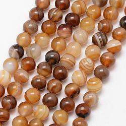Natural Striped Agate/Banded Agate Bead Strands, Round, Grade A, Dyed & Heated, Camel, 6mm, Hole: 1mm; about 61pcs/strand, 15inches