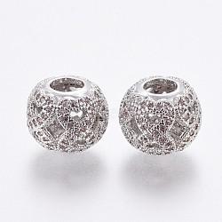 Perles européennes en laiton avec zircone cubique de micro pave, Perles avec un grand trou   , rondelle, lavenderblush, platine, 10.5x8.5mm, Trou: 4mm(OPDL-P001-61)