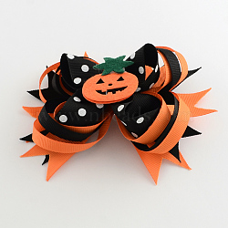 Halloween gros-grain bowknot alligator pinces à cheveux, avec des clips de fer et de la citrouille, platine, orange foncé, 105x135mm(PHAR-R165-08)
