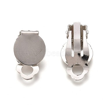 Iron Clip-on Earring Settings, with Round Flat Pad, Flat Round, Platinum, Tray: 10mm, 18x7mm, Hole: 3mm(X-IFIN-R204-09)