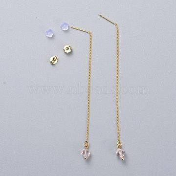 Real 18K Gold Plated Brass Ear Threads, with Austrian Crystal Beads, Plastic & Brass Ear Nuts, Cardboard Boxes, Bicone, 391_Silk, 93mm; Pin: 0.8mm(X-EJEW-JE03811-04)