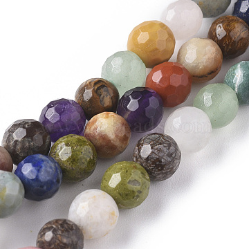 Natural Mixed Gemstone Beads Strands, Faceted, Round, 6mm, Hole: 0.8mm; about 63pcs/strand, 15.35 inches(39cm)(G-F668-28-6mm)