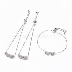 """Bracelets bolo réglables en laiton, Bracelets coulissants, chaînes de boîte, Avec de l'opale synthétique et de la zircone cubique, bowknot avec le coeur, platine, blanc, 9-5/8"""" (24.5 cm), 1mm(BJEW-L618-06P-D)"""